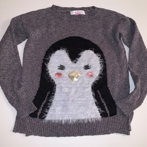 Justice Cute Long Sleeve Penguin Sweater Size: 7